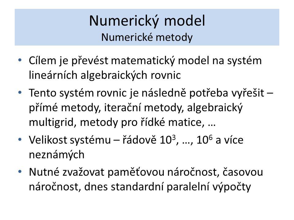 Numerický model Numerické metody