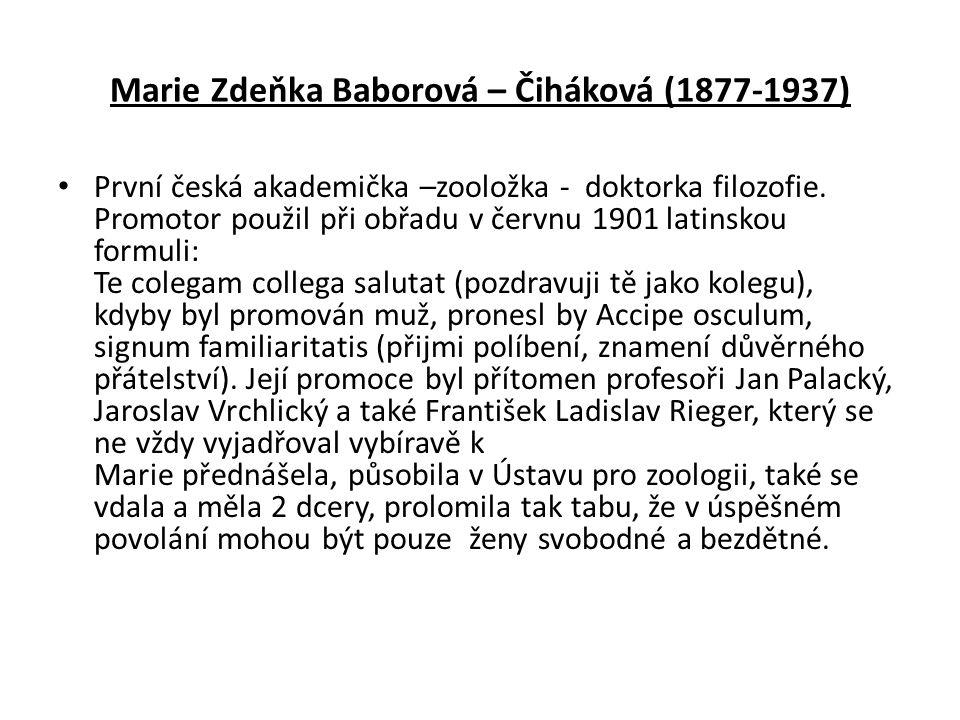 Marie Zdeňka Baborová – Čiháková (1877-1937)