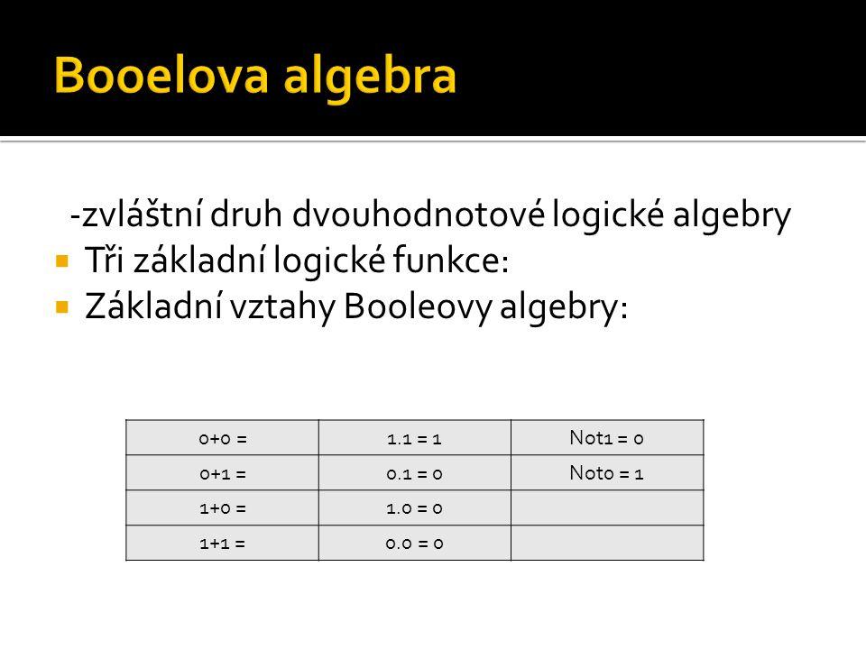 Booelova algebra -zvláštní druh dvouhodnotové logické algebry