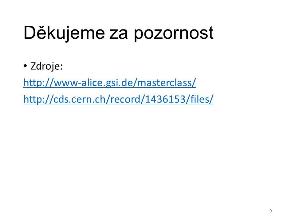 Děkujeme za pozornost Zdroje: http://www-alice.gsi.de/masterclass/