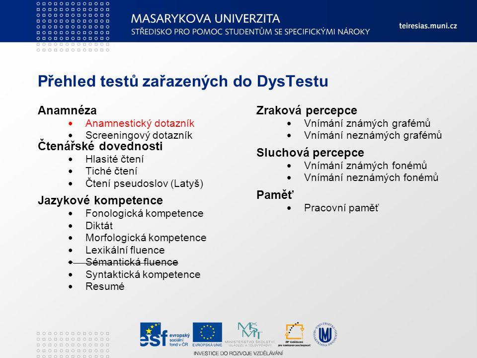 Přehled testů zařazených do DysTestu