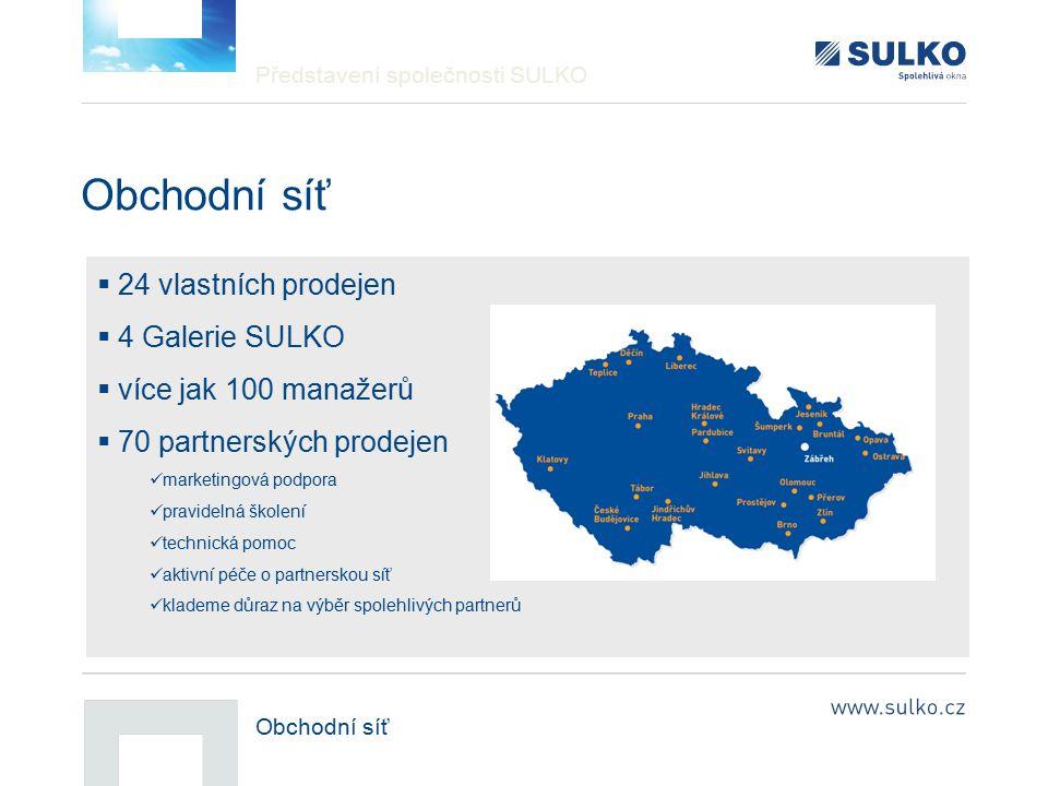 Obchodní síť 24 vlastních prodejen 4 Galerie SULKO