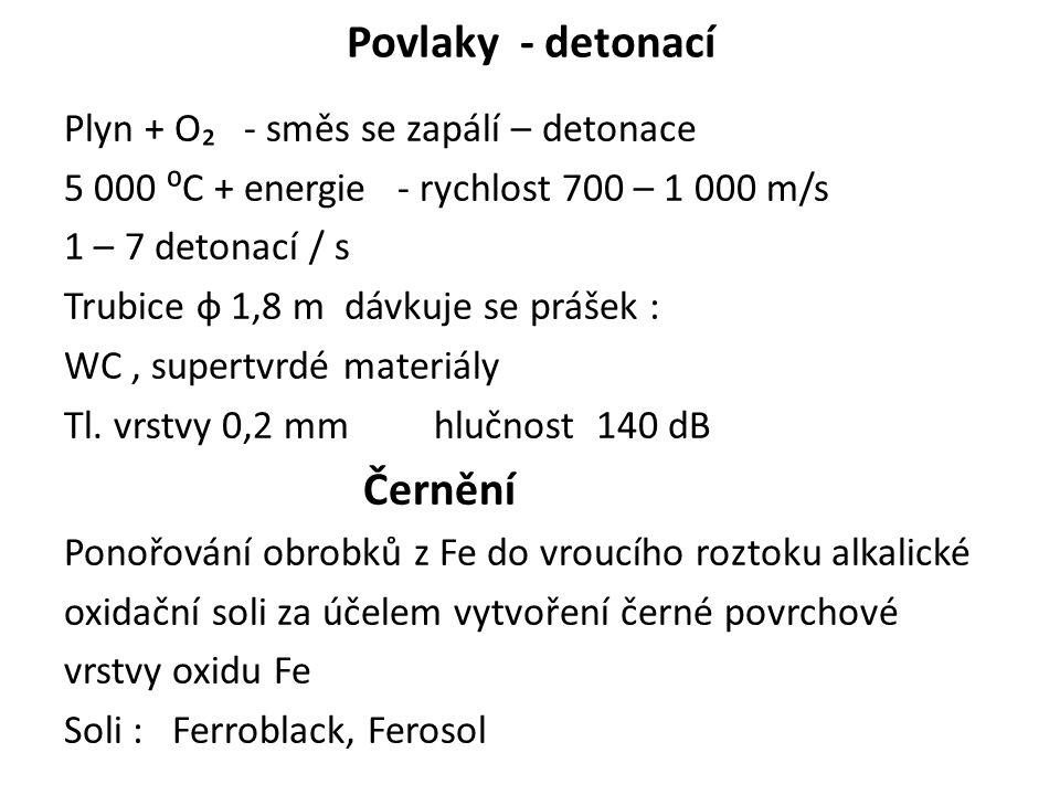 Povlaky - detonací Černění Plyn + O₂ - směs se zapálí – detonace