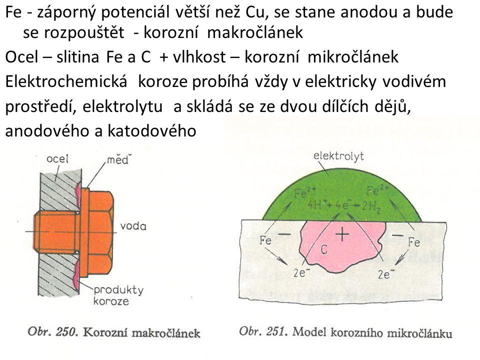 Fe - záporný potenciál větší než Cu, se stane anodou a bude se rozpouštět - korozní makročlánek Ocel – slitina Fe a C + vlhkost – korozní mikročlánek Elektrochemická koroze probíhá vždy v elektricky vodivém prostředí, elektrolytu a skládá se ze dvou dílčích dějů, anodového a katodového