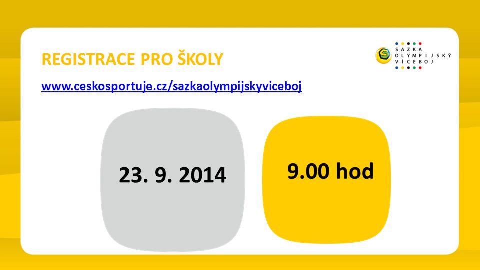 9.00 hod 23. 9. 2014 REGISTRACE PRO ŠKOLY