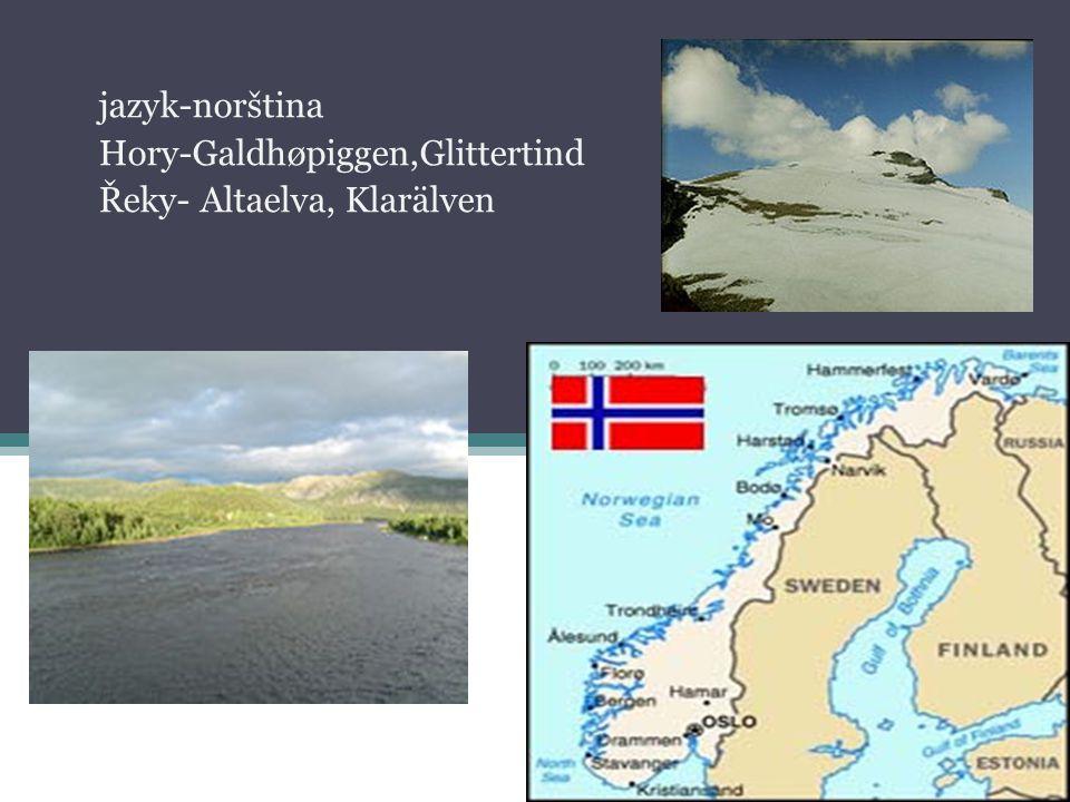 jazyk-norština Hory-Galdhøpiggen,Glittertind Řeky- Altaelva, Klarälven