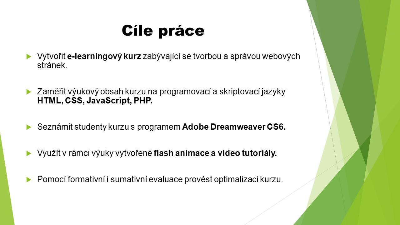 Cíle práce Vytvořit e-learningový kurz zabývající se tvorbou a správou webových stránek.