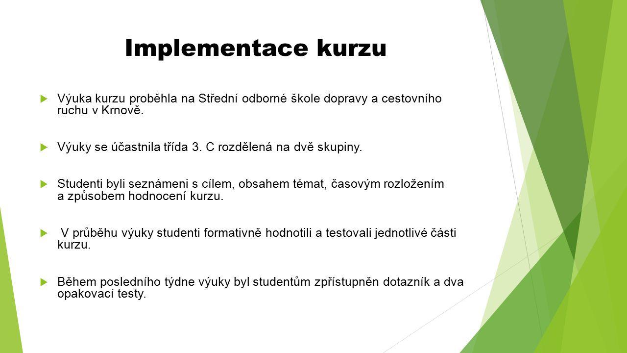 Implementace kurzu Výuka kurzu proběhla na Střední odborné škole dopravy a cestovního ruchu v Krnově.