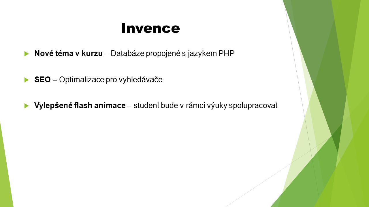 Invence Nové téma v kurzu – Databáze propojené s jazykem PHP