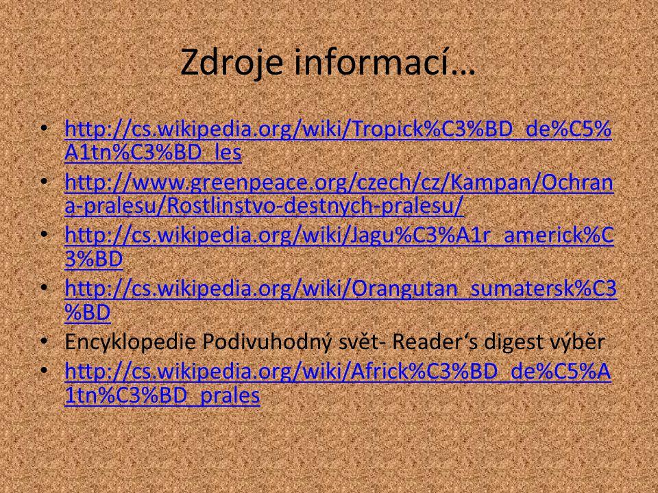 Zdroje informací… http://cs.wikipedia.org/wiki/Tropick%C3%BD_de%C5%A1tn%C3%BD_les.