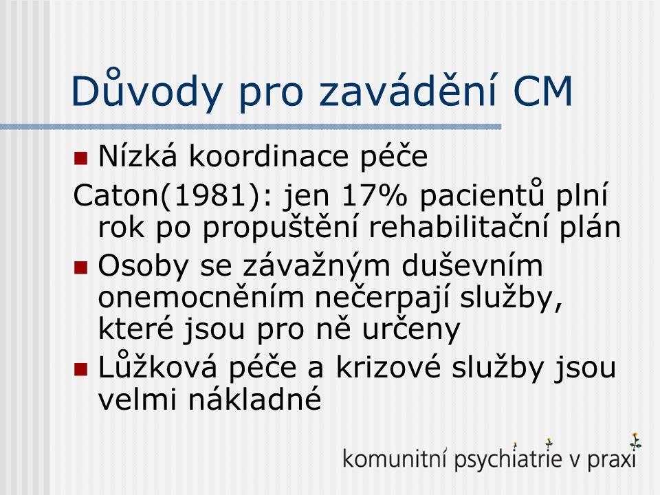Důvody pro zavádění CM Nízká koordinace péče