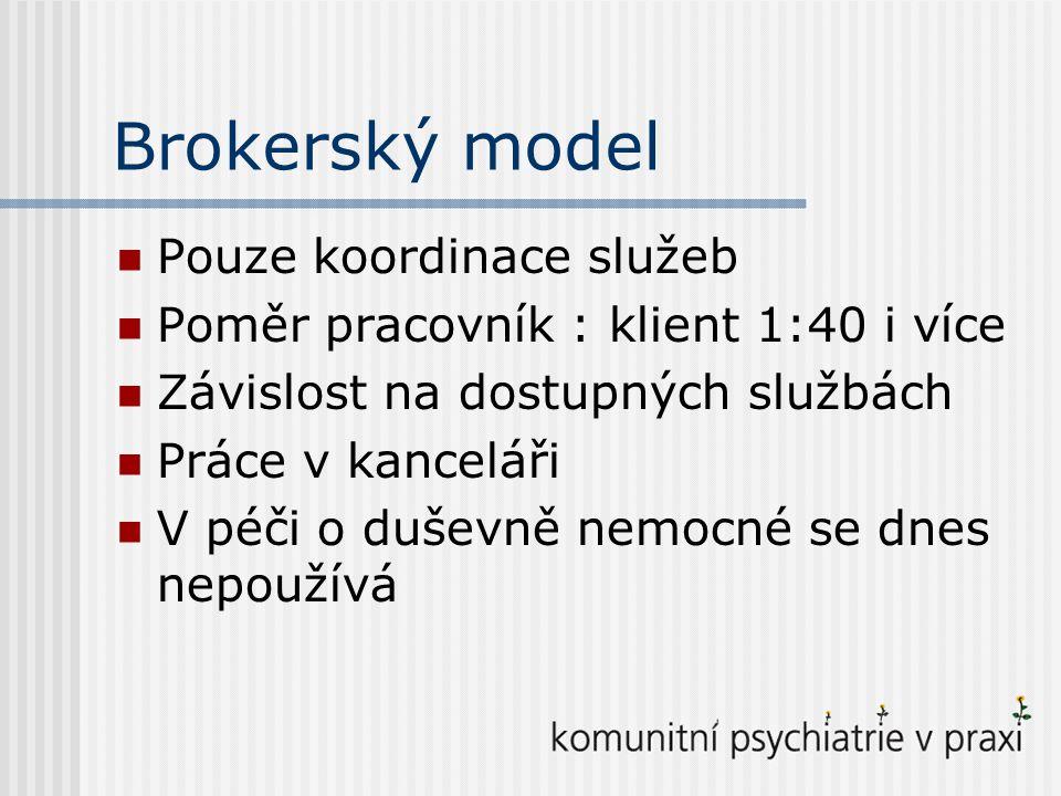 Brokerský model Pouze koordinace služeb