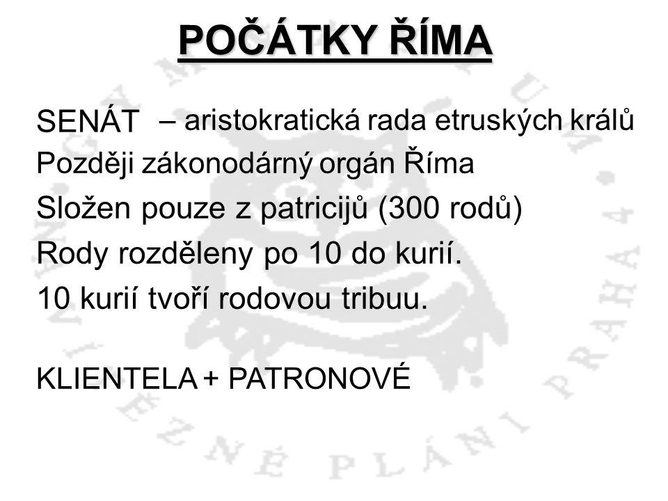 POČÁTKY ŘÍMA SENÁT Složen pouze z patricijů (300 rodů)
