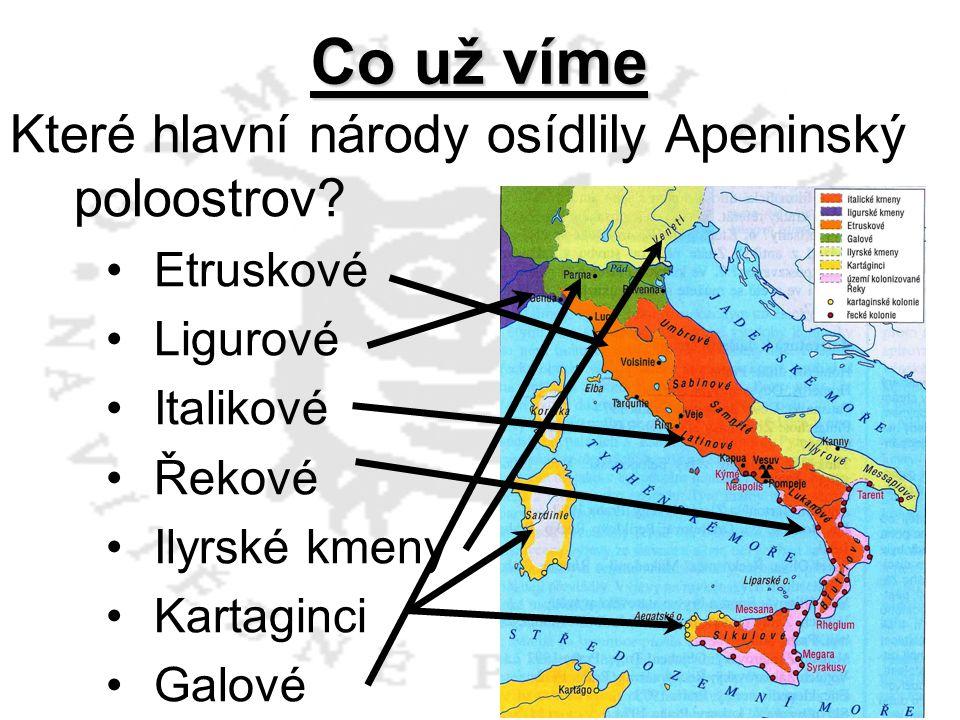 Co už víme Které hlavní národy osídlily Apeninský poloostrov