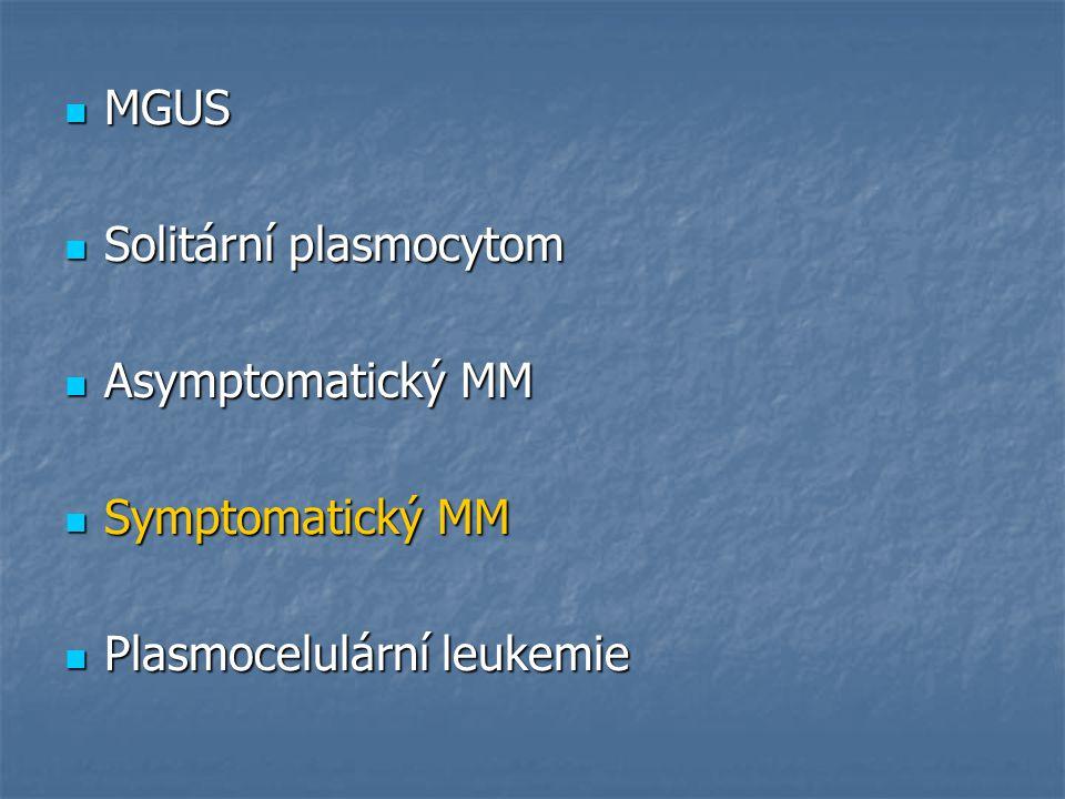 MGUS Solitární plasmocytom Asymptomatický MM Symptomatický MM Plasmocelulární leukemie
