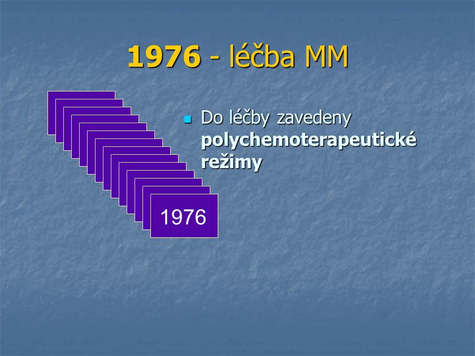 1976 - léčba MM Do léčby zavedeny polychemoterapeutické režimy 1976