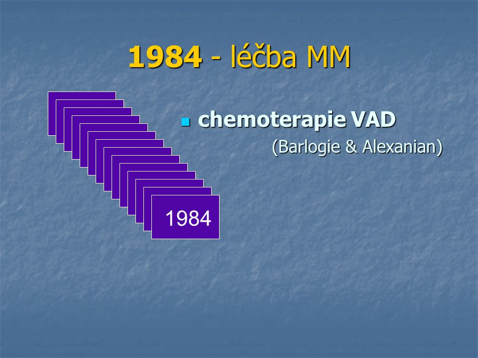 1984 - léčba MM chemoterapie VAD (Barlogie & Alexanian) 1984
