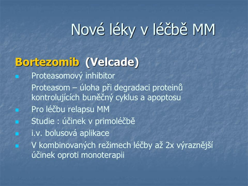 Nové léky v léčbě MM Bortezomib (Velcade) Proteasomový inhibitor