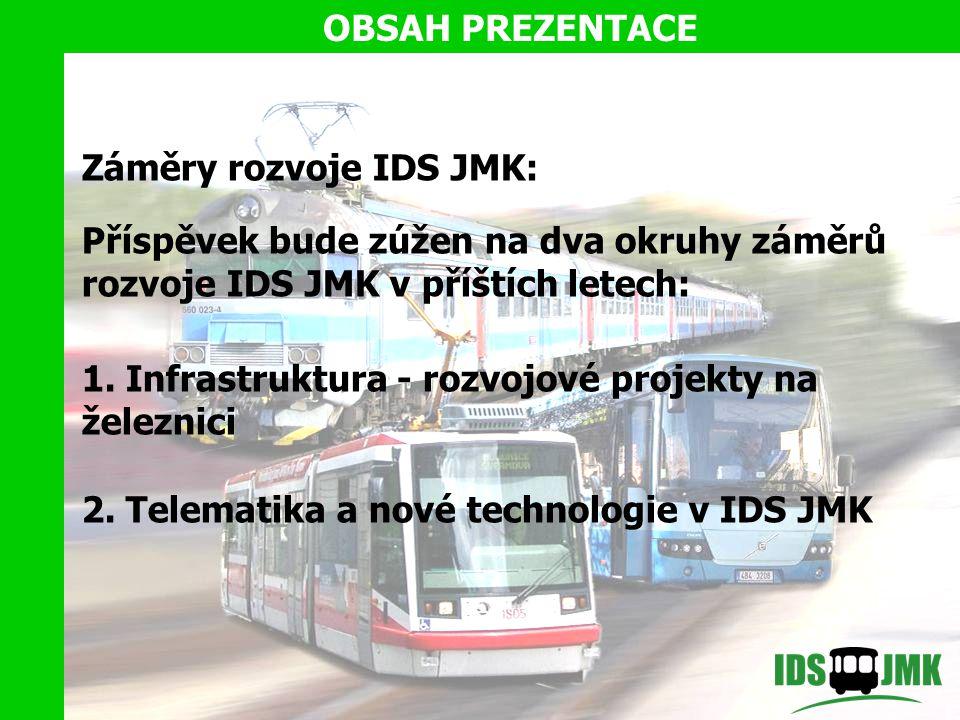 OBSAH PREZENTACE Záměry rozvoje IDS JMK: Příspěvek bude zúžen na dva okruhy záměrů rozvoje IDS JMK v příštích letech:
