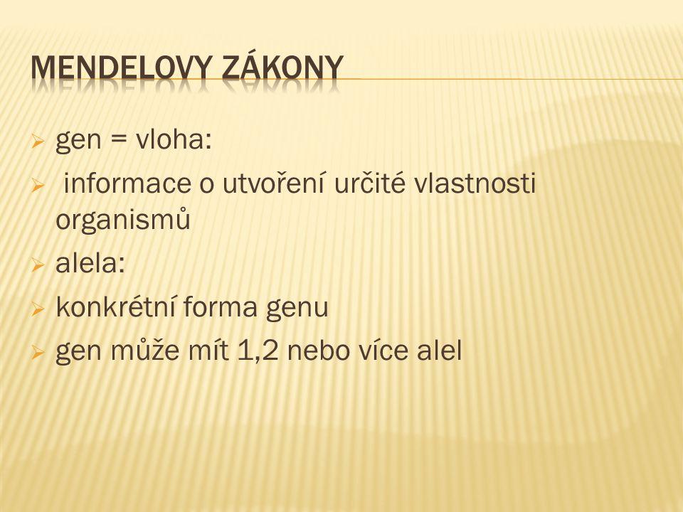 MENDELOVY ZÁKONY gen = vloha: