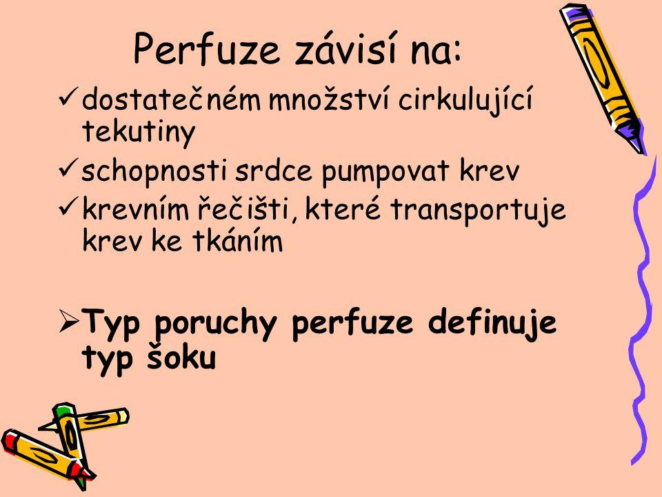 Perfuze závisí na: Typ poruchy perfuze definuje typ šoku