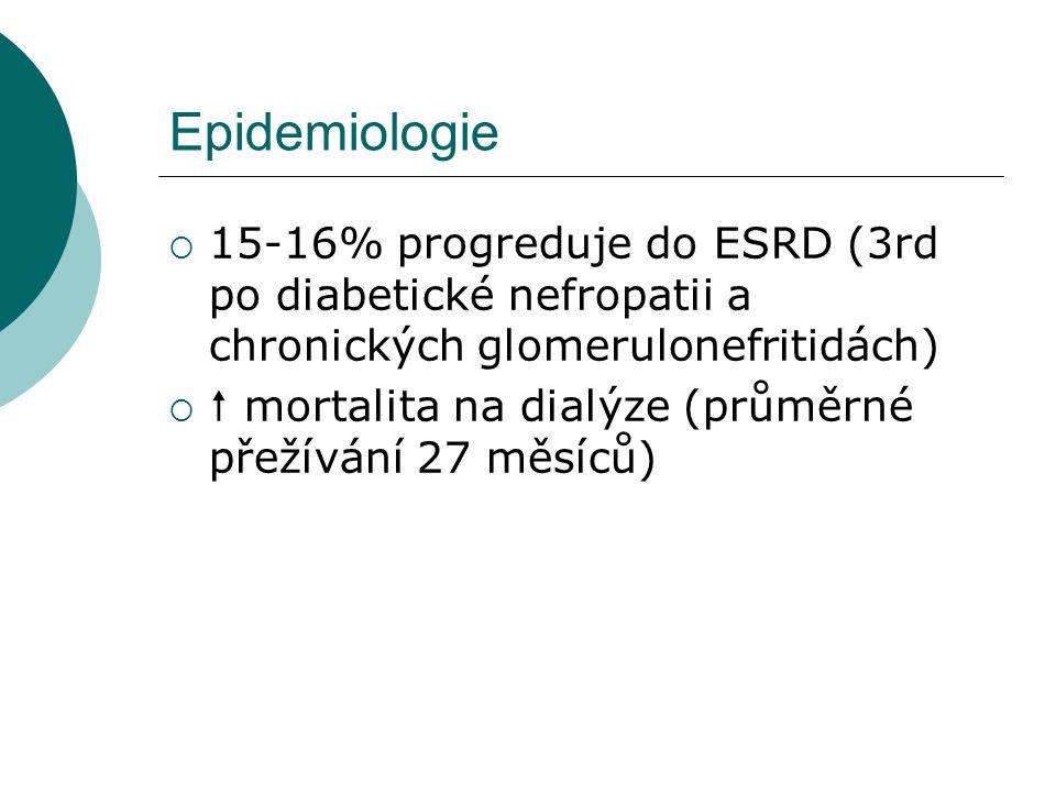 Epidemiologie 15-16% progreduje do ESRD (3rd po diabetické nefropatii a chronických glomerulonefritidách)