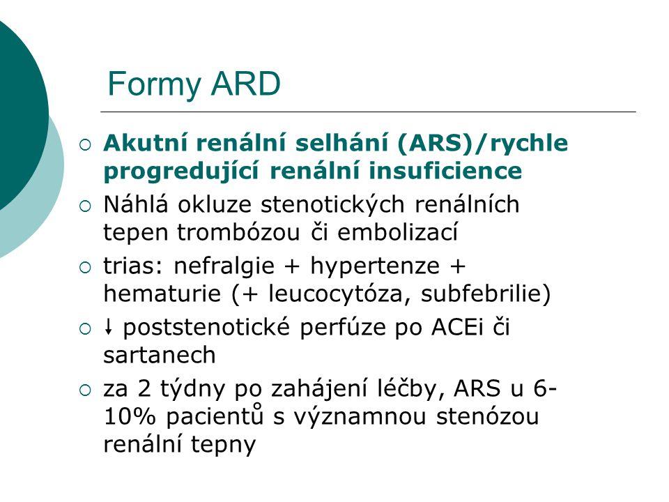 Formy ARD Akutní renální selhání (ARS)/rychle progredující renální insuficience. Náhlá okluze stenotických renálních tepen trombózou či embolizací.
