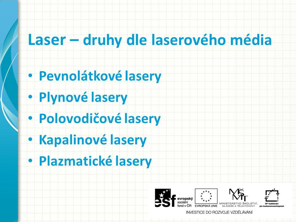 Laser – druhy dle laserového média