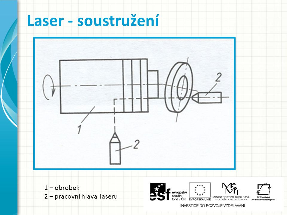 Laser - soustružení 1 – obrobek 2 – pracovní hlava laseru