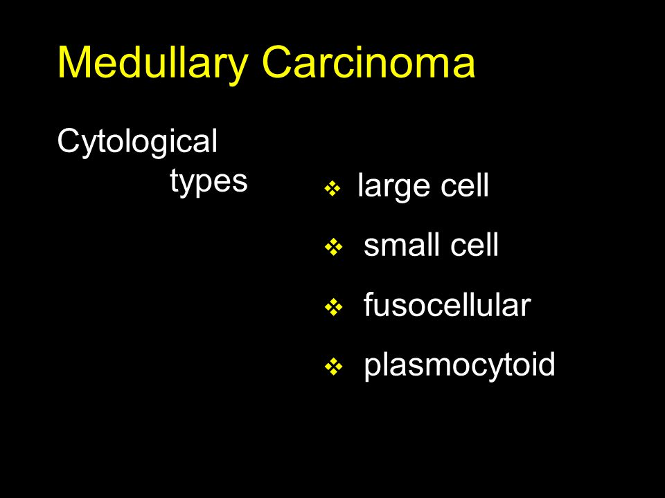 Medullary Carcinoma Cytological types small cell fusocellular