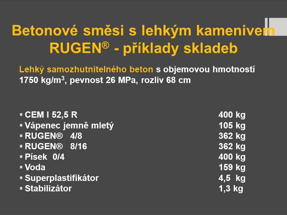 Betonové směsi s lehkým kamenivem RUGEN® - příklady skladeb