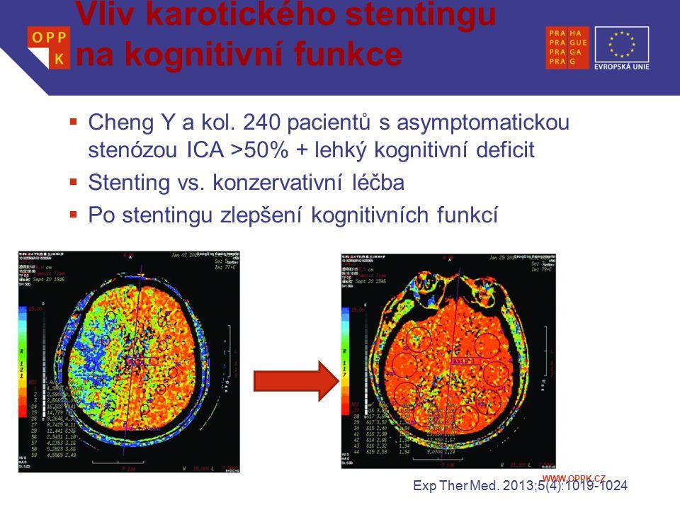 Vliv karotického stentingu na kognitivní funkce