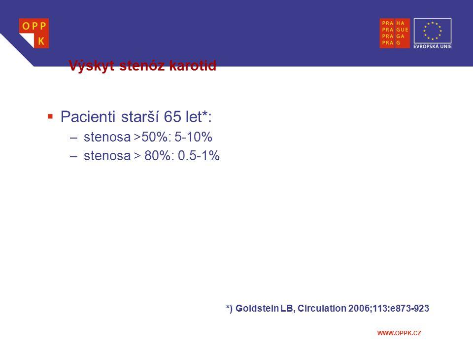 Pacienti starší 65 let*: Výskyt stenóz karotid stenosa >50%: 5-10%