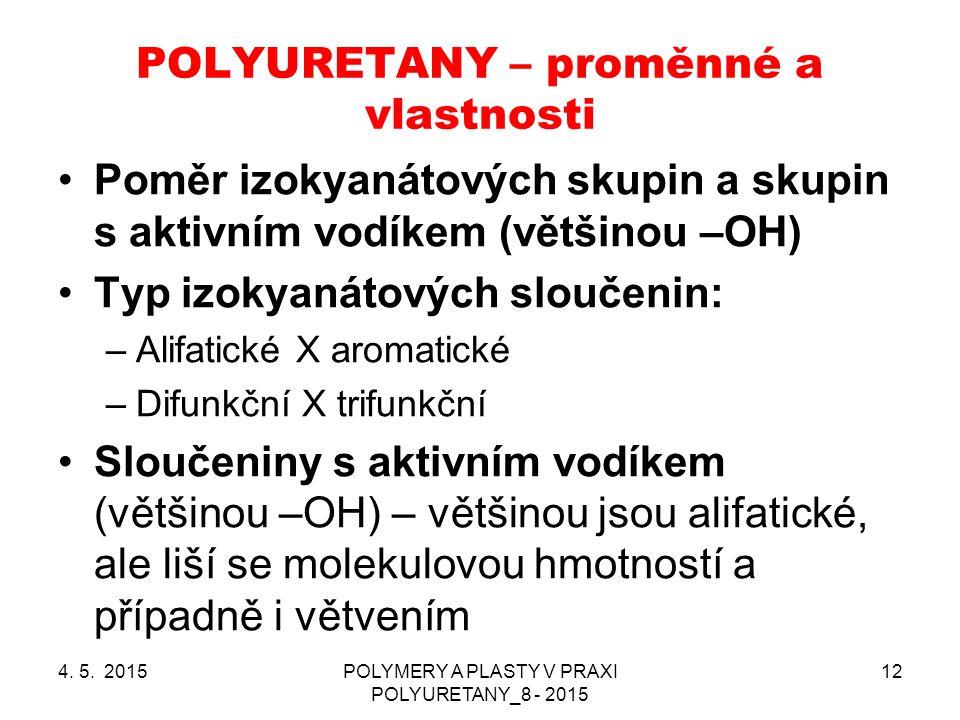 POLYURETANY – proměnné a vlastnosti