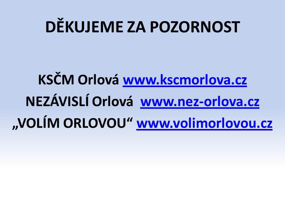 """DĚKUJEME ZA POZORNOST KSČM Orlová www.kscmorlova.cz NEZÁVISLÍ Orlová www.nez-orlova.cz """"VOLÍM ORLOVOU www.volimorlovou.cz"""