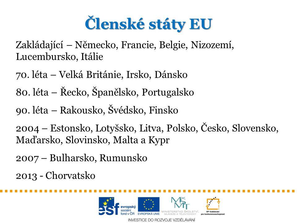 Členské státy EU Zakládající – Německo, Francie, Belgie, Nizozemí, Lucembursko, Itálie. 70. léta – Velká Británie, Irsko, Dánsko.