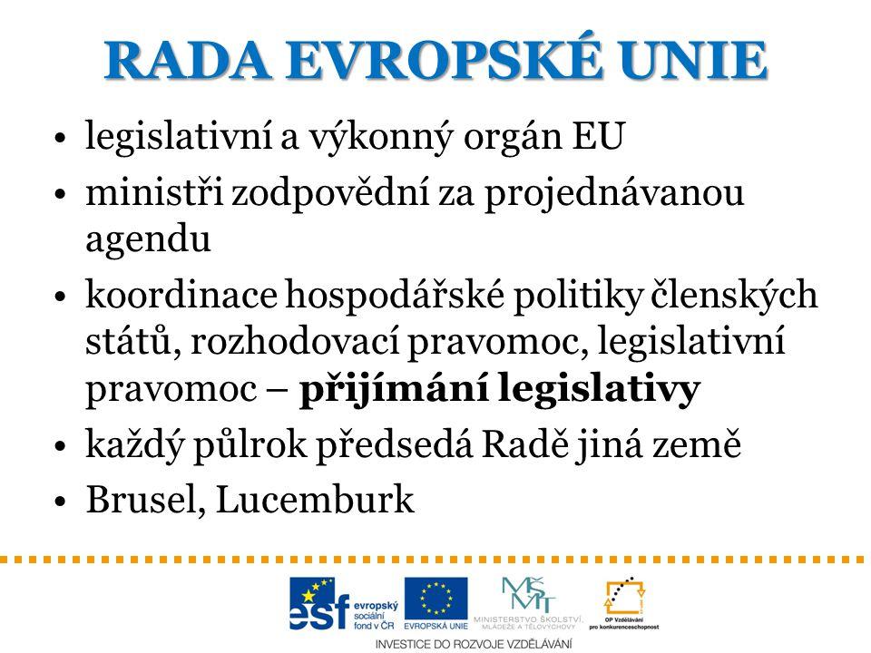 RADA EVROPSKÉ UNIE legislativní a výkonný orgán EU