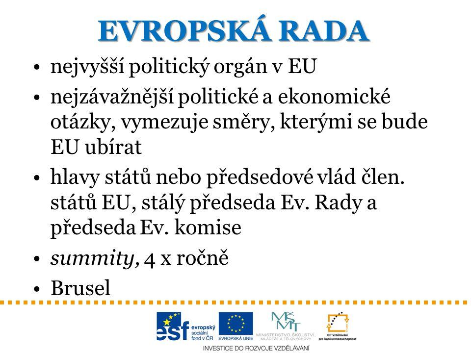 EVROPSKÁ RADA nejvyšší politický orgán v EU