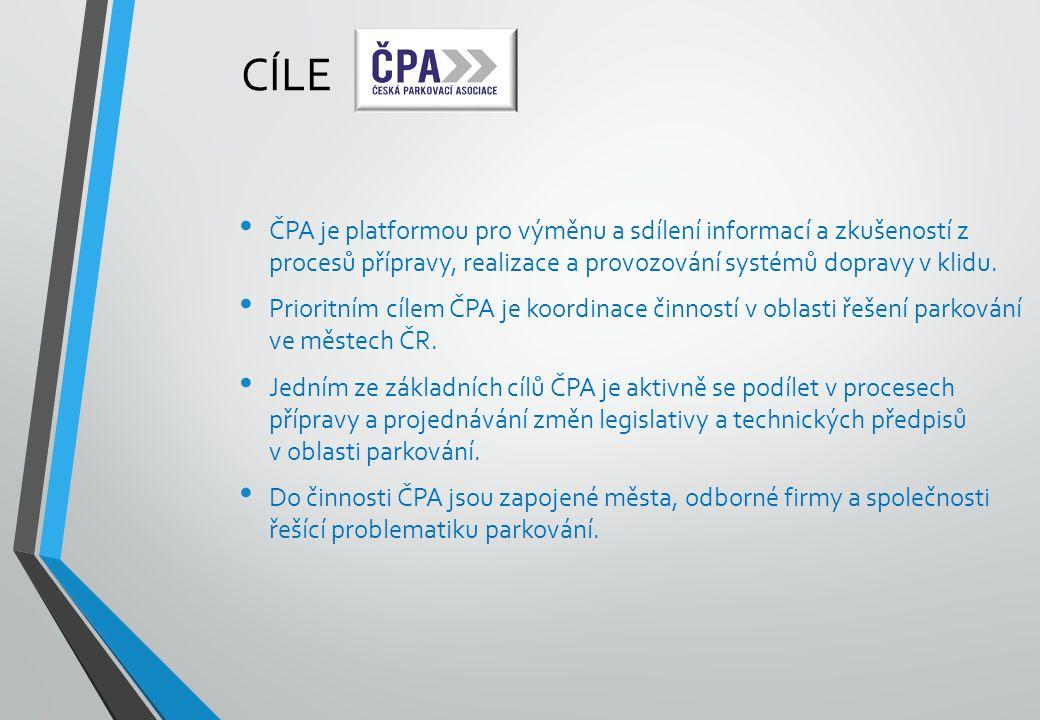 CÍLE ČPA je platformou pro výměnu a sdílení informací a zkušeností z procesů přípravy, realizace a provozování systémů dopravy v klidu.
