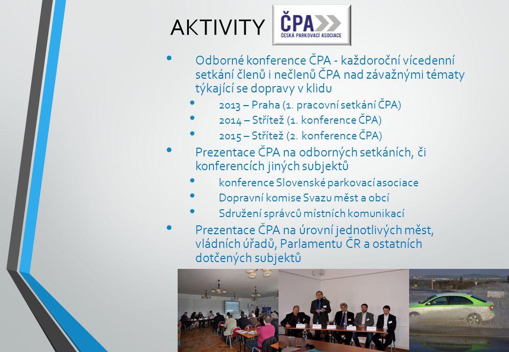 Aktivity Odborné konference ČPA - každoroční vícedenní setkání členů i nečlenů ČPA nad závažnými tématy týkající se dopravy v klidu.