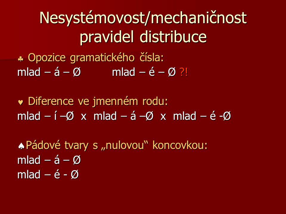 Nesystémovost/mechaničnost pravidel distribuce