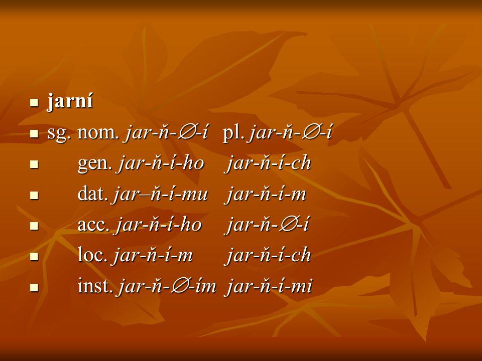 jarní sg. nom. jar-ň--í pl. jar-ň--í. gen. jar-ň-í-ho jar-ň-í-ch. dat. jar–ň-í-mu jar-ň-í-m.