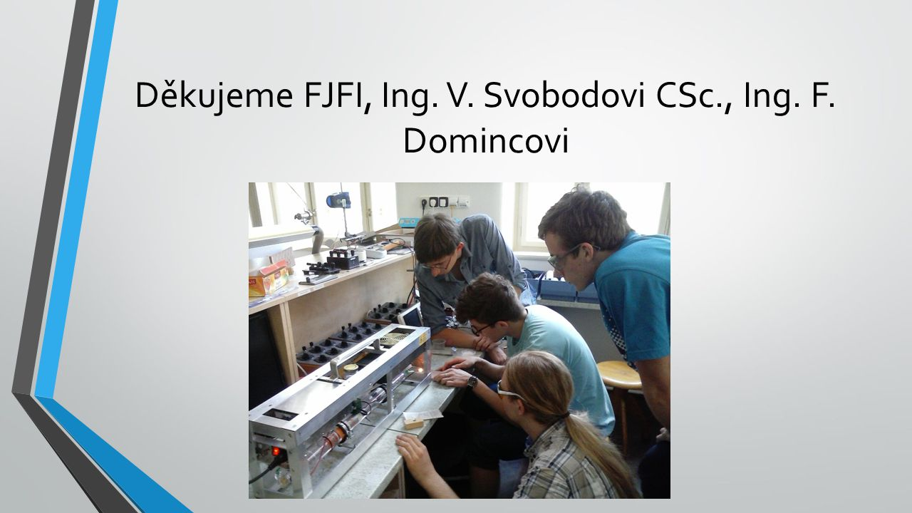 Děkujeme FJFI, Ing. V. Svobodovi CSc., Ing. F. Domincovi
