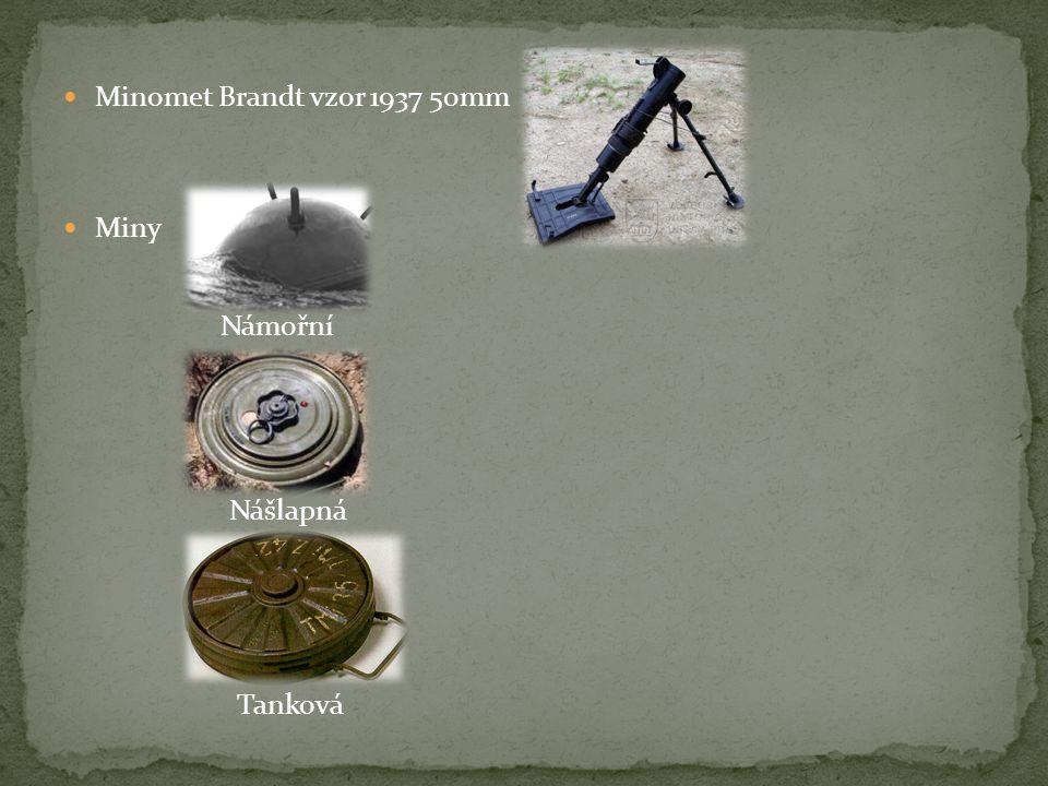 Minomet Brandt vzor 1937 50mm Miny Námořní Nášlapná Tanková