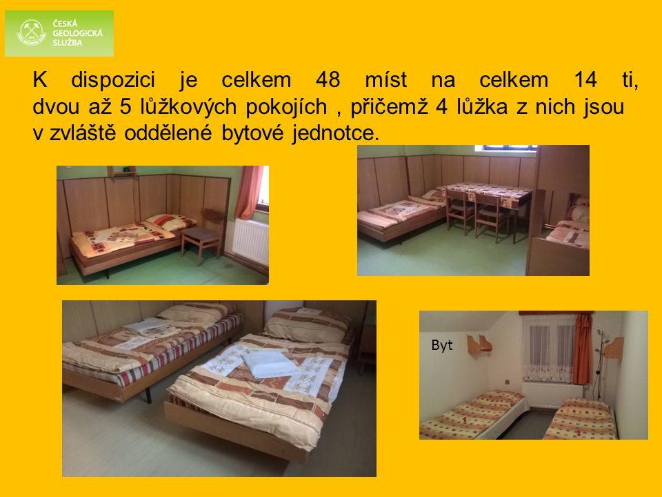 K dispozici je celkem 48 míst na celkem 14 ti, dvou až 5 lůžkových pokojích , přičemž 4 lůžka z nich jsou v zvláště oddělené bytové jednotce.