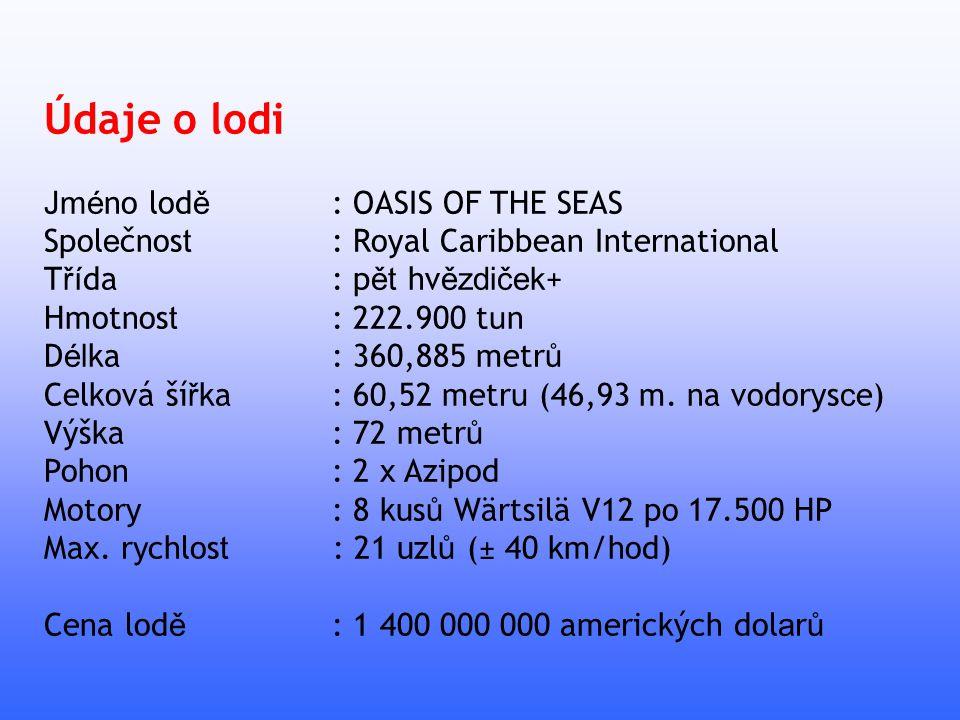 Údaje o lodi Jméno lodě : OASIS OF THE SEAS