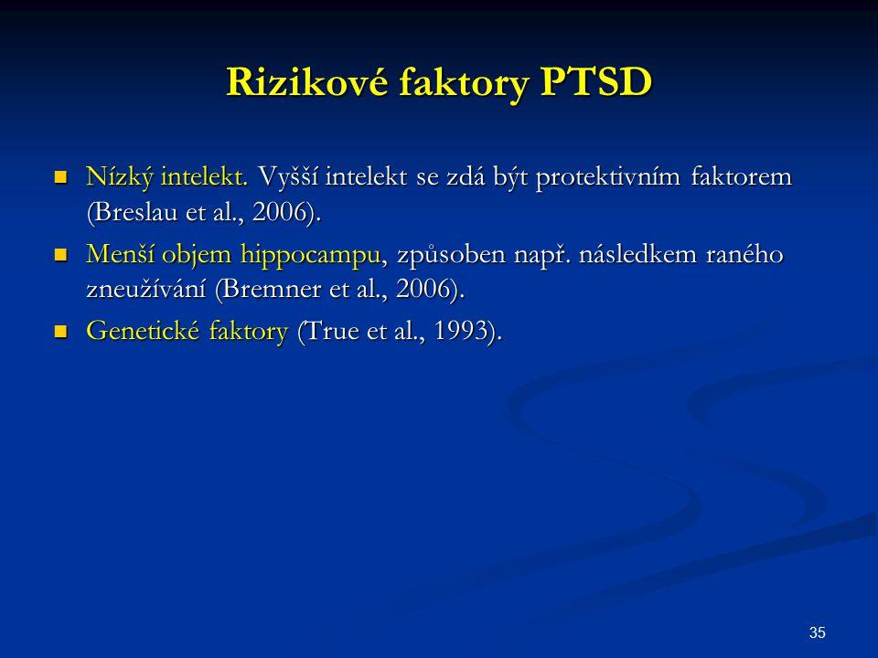 Rizikové faktory PTSD Nízký intelekt. Vyšší intelekt se zdá být protektivním faktorem (Breslau et al., 2006).