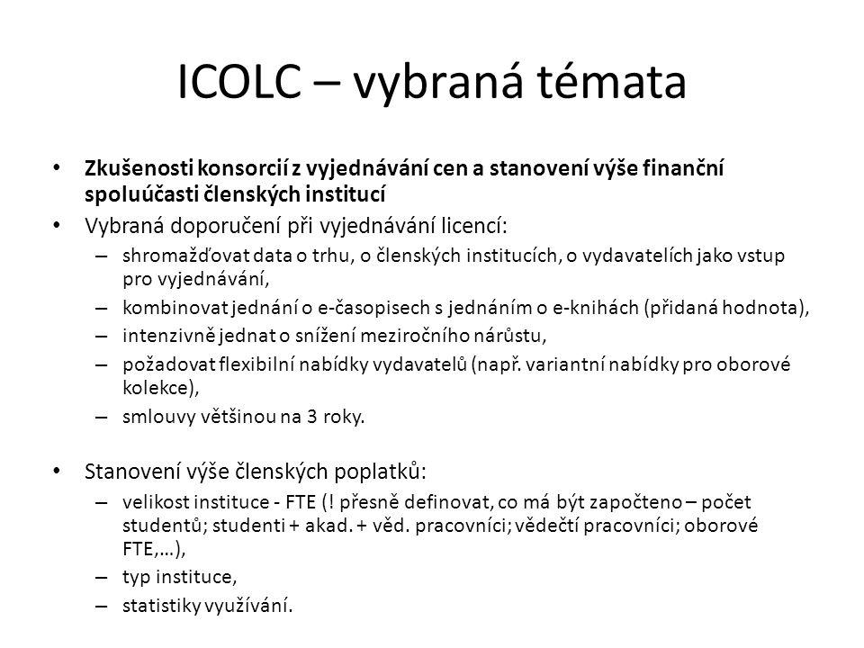 ICOLC – vybraná témata Zkušenosti konsorcií z vyjednávání cen a stanovení výše finanční spoluúčasti členských institucí.