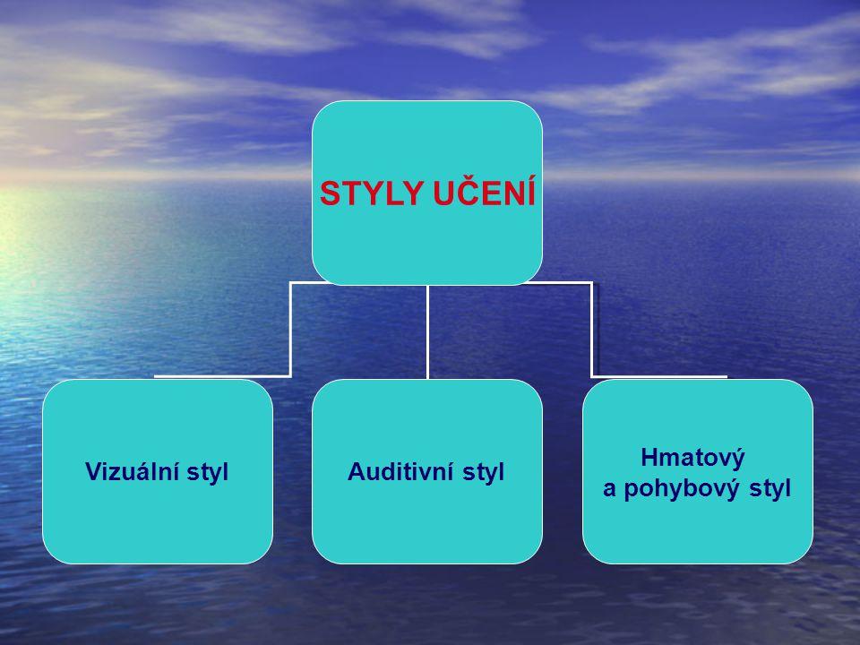 STYLY UČENÍ Vizuální styl Auditivní styl Hmatový a pohybový styl