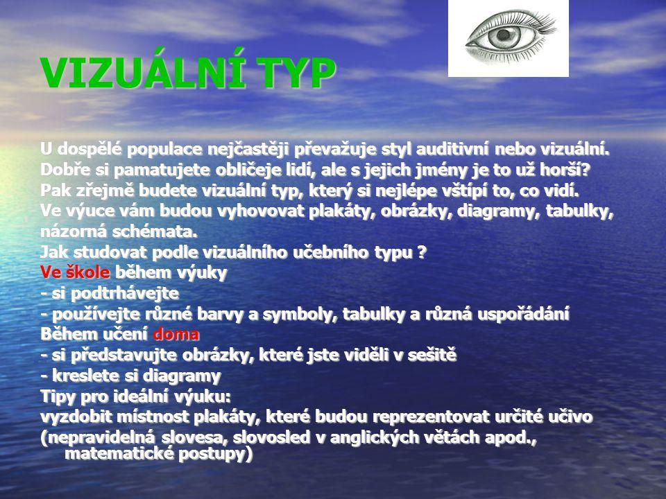 VIZUÁLNÍ TYP U dospělé populace nejčastěji převažuje styl auditivní nebo vizuální.